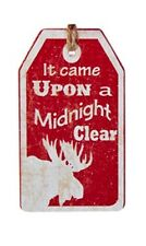 "KURT ADLER WOODEN VINTAGE NATURE TAG ORNAMENT ""IT CAME UPON A MIDNIGHT CLEAR"""