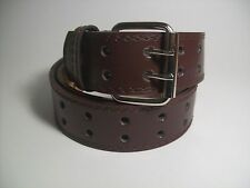 "Men Silver Color Buckle Brown Leather Belt Two Hole L 38 - 40"" #9041B"