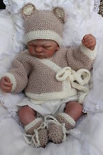 KNITTING PATTERN TO MAKE  baby bear set  jacket  hat   booties    0/ 12M