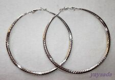 Fashion Big Hoop Earrings White Gold Plated Jewellery for Women.