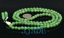 "33"" Natural Green Nephrite Jade Meditation 108 Prayer Beads Mala w/. certificate"