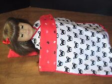 "Reversible French Bulldog/Hearts Blanket for 18"" American Girl Doll Grace"