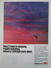 7/1990 PUB ALLISON GM TURBOSHAFT ENGINE MODEL 250 HELICOPTER ORIGINAL AD