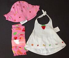 NWT Gymboree Tutti Fruity 3-6 Months White Strawberry Top Pink Fruit Shorts Hat