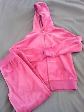 JUICY COUTURE Girls 6 OUTFIT Pink Purple Velour TRACK SUIT Pants + Hoodie Set