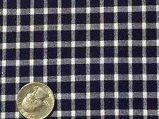 """Vtg Navy Blue White Check Plaid Cotton Quilt Fabric Scrap 28""""x 24"""""""" (D)"""