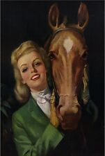 EQUESTRIAN PIN-UP GIRL HORSE ENGLISH GEAR HORSEBACK RIDING CANVAS ART PRINT