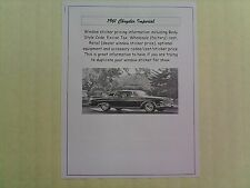 1961 Chrysler Imperial factory cost/dealer sticker prices for base + options $$
