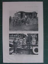 1917 WWI WW1 PRINT ~ FIELD DEPOT WOUNDED ON SOMME FRONT ~ R.A.M.C HOSPITAL BARGE