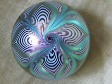 Beautiful ABELMAN PULLED FEATHER PAPERWEIGHT: Aqua,Purple,Gold, Numbered, 2.5 ""