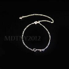 US SELLER  Silver 925 Key Crystal Anklet Bracelet Adjustable