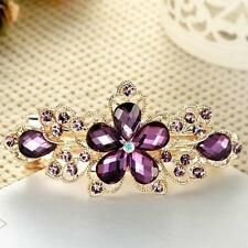 Chic Girls  Crystal Rhinestone Flower Barrette Hair Clip Clamp Purple Hairpin