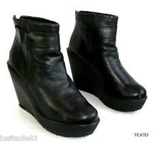 TEXTO - BOTTINES COMPENSEES PLATEAU CUIR NOIR 40 - EXCELLENT ETAT