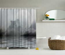 "GIANT MOON OVER FOG CLOUDY CALM OCEAN WATER 70"" Fabric Bathroom Shower Curtain"