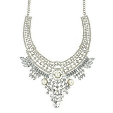 Fashion Women Pendant Chain Crystal Choker Chunky Bib Statement Necklace Jewelry
