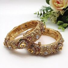 Indian Asian Bridal Jewellery Bollywood Party Ethnic Wear Polki Bangles Size:2.8