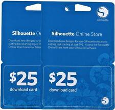 SALE PRICE  2 Silhouette CAMEO  $25 DOWNLOAD CARDS  $50.00 value  FREE SHIP