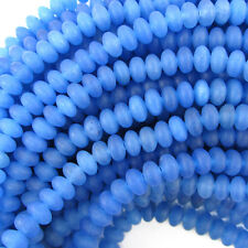 """5mm blue frost agate rondelle beads 15.5"""" strand"""