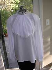 #115 VICTORIAN GIBSON GIRL HIGH COLLAR STEAMPUNK WHITE LONG SLEEVE  BLOUSE  8