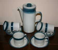 Vintage Wedgwood Blue Pacific Coffee Set for 6