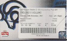 ENGLAND v HOLLAND UNDER 21 UEFA QUALIFIER AT DERBY 12 NOVEMBER 2001 MATCH TICKET
