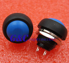 2PCS 12mm Waterproof Momentary ON/OFF Push Button Mini Round Switch Blue