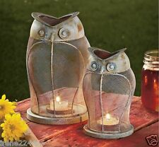 "Set/2 Rustic Owl LED Tealight Candle Lanterns 9.5"" & 7"" Patio Garden Lights NIB"