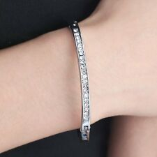 DIAMANTE CRYSTAL WHITE-SILVER PLATED CUFF BANGLE BRACELET JEWELLERY NEW FOR GIRL
