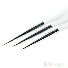 3Pcs Nice Acrylic French Nail Art Liner Painting Drawing Pen Brush Tool Set