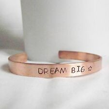"""Lovely Handmade Recycled Copper """"Dream Big"""" Statement Cuff Bangle Unique Gift"""