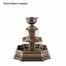 Garden Water Fountain Feature Bird Bath Bronze Resin 3-Tier Outdoor Yard Decor