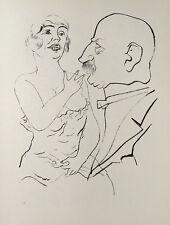 George Grosz Berlin Ungleiches Paar Akt Erotik Kleid Nude Breast Postituierte