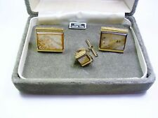 VINTAGE CUFFLINKS TIE TACK SET * DANTE CUFF LINKS GENUINE TAHITIAN PEARL
