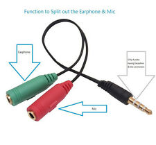 3.5mm Stereo Headphone Microphone Audio Y Splitter Cable Adapter Plug Jack Cord