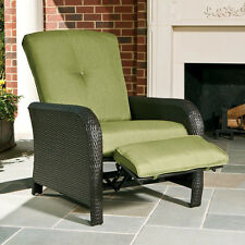 Green Cushion Resin Wicker Outdoor Patio Recliner Chair Home Seating Furniture