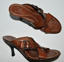 COLE HAAN SZ 7 B BROWN STUDDED LEATHER SLIDES SANDALS