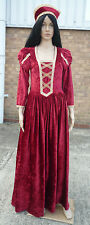 Superb Red/Gold Medieval Princess Gown + Headdress  - size 12-14 (ref wm162)