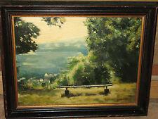 Ölgemälde, Spät-Impressionist, Landschaft am Waldrand, G. Castaigne, um 1920