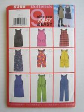 NOS Butterick Sewing Pattern #5168 Girl's 12/14 Easy Jumper Dress Pants Shorts