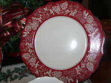 222 FIFTH ANDOVER SET/2 DINNER PLATES PINECONES WINTER CHRISTMAS EVERYDAY