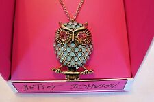 Genuine Betsey Johnson Gifting Gold Tone Owl Crystal & Green Stone Necklace NIB
