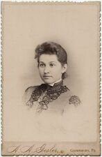 YOUNG LADY IN BEAUTIFUL DRESS BY GESLER, GREENSBURG, PA, CABINET CARD