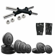 Fitfly Home Gym Set 10Kg Rubber Plate Gloves dumbbells