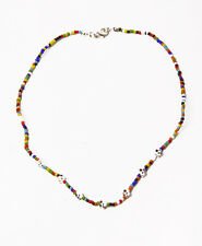FUNKY CHIC TINY BEADS HIPPY CHOKER NECKLACE SILVER FLOWERS SWEET LOOK (ZX19)