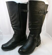 Earth~Black Leather Boots~Arch Support~Contoured footbed~Lined~6.5 M~Wide Shaft