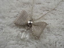 Silvertone Mesh Bow Heart Pendant Necklace (D76)