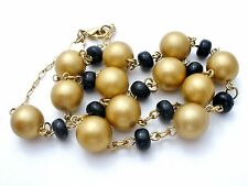 "Kenneth Jay Lane Bead Necklace Black & Gold 19"" Long Beaded Designer KJL Jewelry"