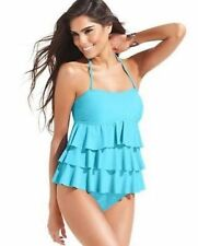 Island Escape Size 12 Solid Aqua Blue Tiered Tankini Swimsuit TOP ONLY NWT