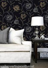 Gold & Silver on a Black Background, Floral Patterned, Designer Wallpaper