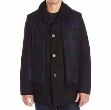 Tommy Hilfiger Men's Melton Wool Walking Coat with Scarf - Black, Large